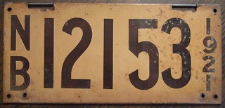 NEW BRUNSWICK 1921 license plate