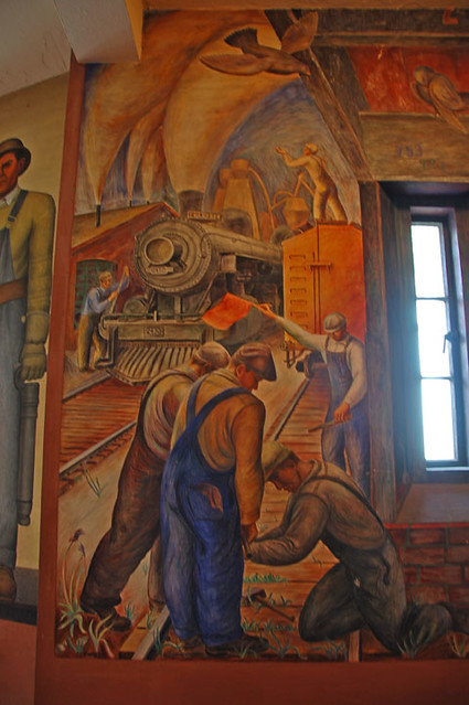 Diego rivera mural inside coit tower railroad workers for Diego rivera san francisco mural