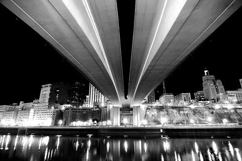 city bridge urban blackandwhite bw reflection minnesota night river mississippi lights cityscape stpaul twincities saintpaul wabasha damniwishidtakenthat