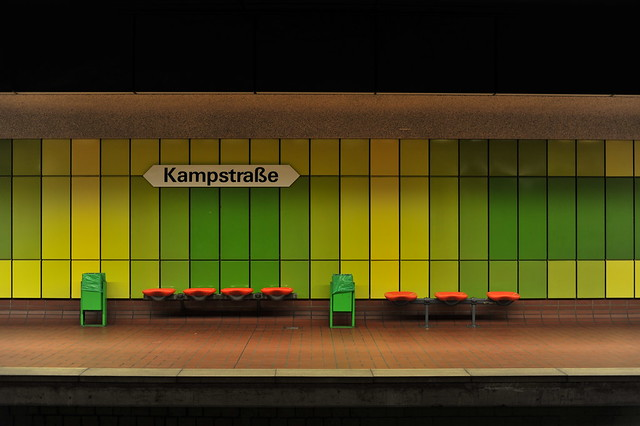 Kampstraße Subway station, Dortmund at night