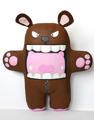 Pig in a bear suit, plushform front.