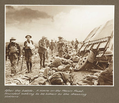 After the battle. A scene on the Menin Road. Wounded waiting to be taken to the dressing stations.