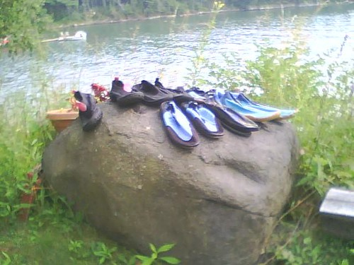 Boat shoes on a Maine rock