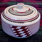 Ancient Mimbreño Indian patterned covered sugar bowl
