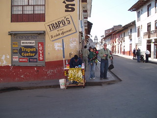 Peruvian orange juice vendor in Cuyamarca, Peru