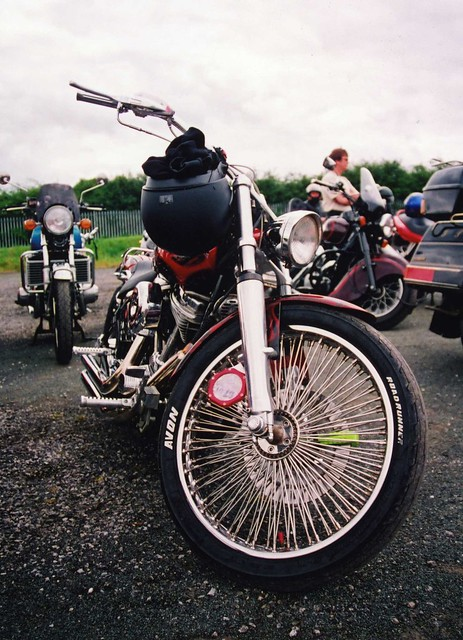 Harley Davidson Spoke Wheeled Custom Motorbike, Barnsley Bike Show