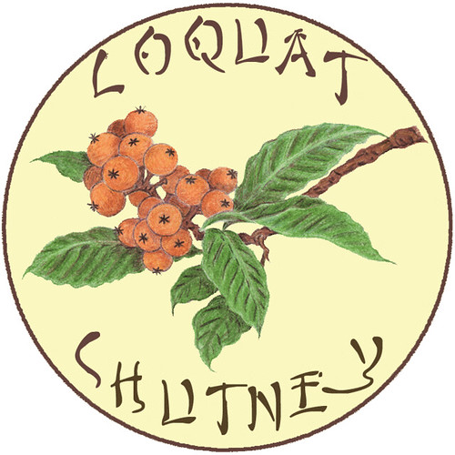 Loquat Chutney Label by Eve Fox, copyright 2009