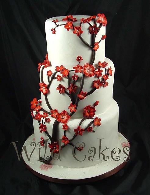 Red Cherry Blossom Wedding Cake Www Wildcakes Ca Wild