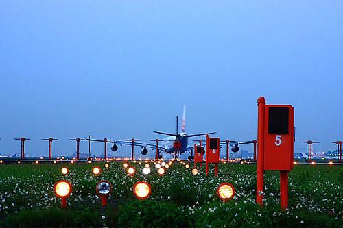 169k桃园国际机场-飞机-降落指引灯