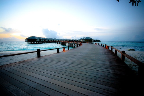 Water Villas at dusk