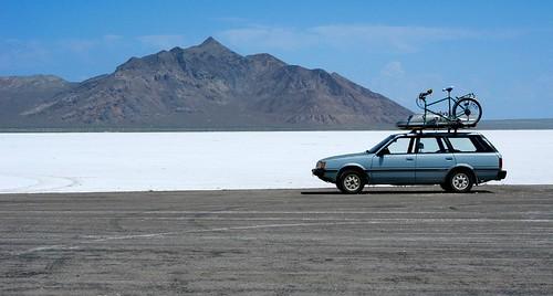 road mountain car geotagged utah pavement subaru asphalt saltflats wendover ut2005 accessroad bonnevillesaltflats silverislandmountains tetzlaffpeak