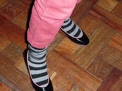 sneakers(0.0), high-heeled footwear(0.0), red(0.0), limb(0.0), human body(0.0), tights(0.0), brown(1.0), footwear(1.0), clothing(1.0), shoe(1.0), leg(1.0), sock(1.0), pink(1.0),