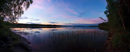 sunset lake reed water suomi finland panoramic nigh panoramique sunrising näsijärvi clouwd uitoslahti paloselkä