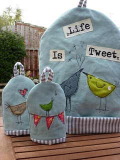 Life is Tweet cushion Tea & egg cosies