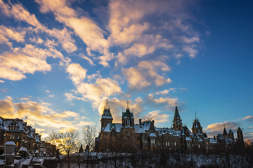 sunset sky above east block in Ottawa