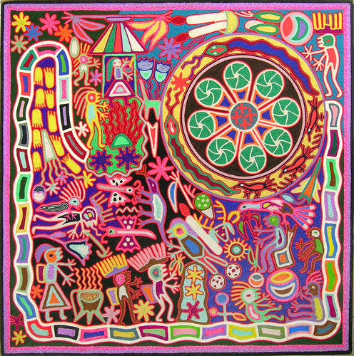 Patti Haskins' Huichol yarn painting