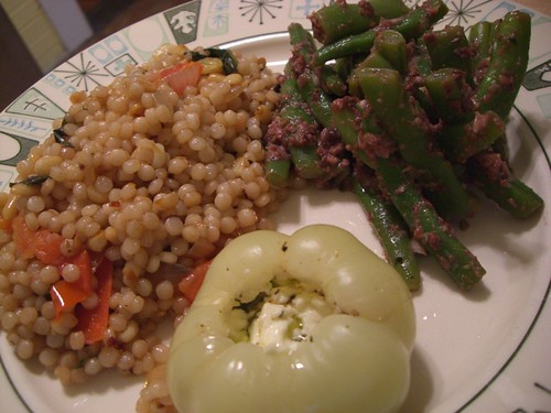 israeli couscous, rattlesnake beans tossed in tapenade and stuffed paprika pepper