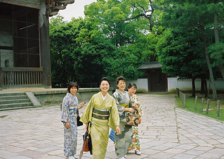 Beatiful Ladies in Kimonos on their Sunday Trip to Todai-ji Temple, Nara, Japan