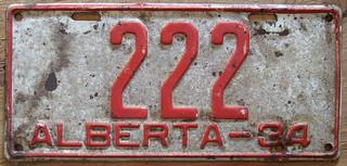 ALBERTA 1934 license plate 222