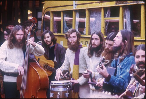 Musicians performing at Pike Place Market anniversary celebration, 1972