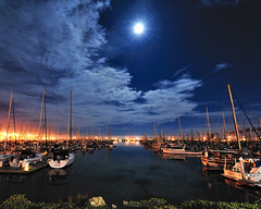 Ventura Harbor Under a Full Moon