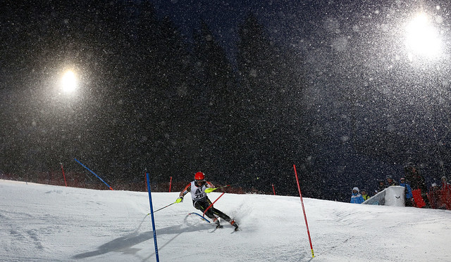 Michael Janyk traverses the slalom course during a night race in Kitzbuehel, AUT