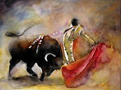 cattle-like mammal, tradition, painting, bullfighting, watercolor paint, modern art,