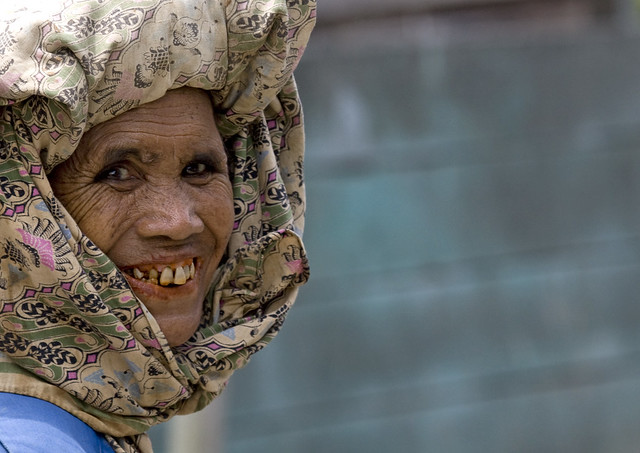 Old batak woman from Karo tribe, Sumatra, Indonesia