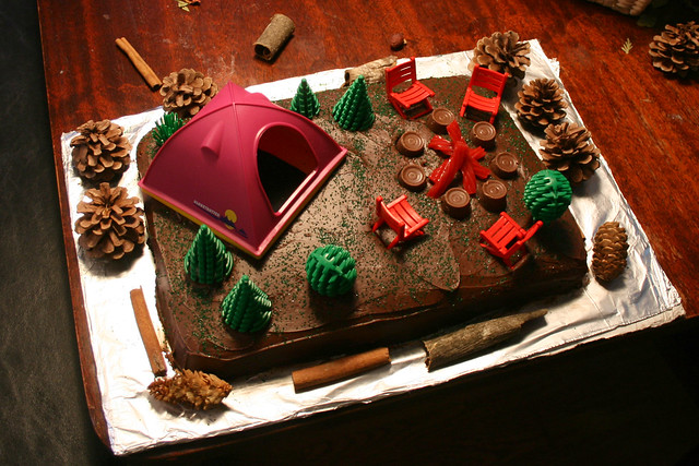 birthday cake, with tent + camping gear | Flickr - Photo ...