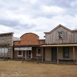 Three buildings lined up along Main Street at the reproduction western town of Alamo Village (alamovillage045xy)