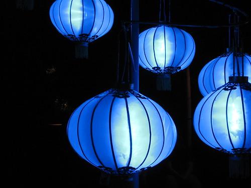 Blue chinese lanterns