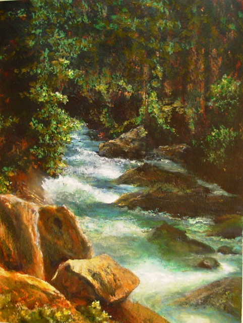 Forest stream acrylic painting flickr photo sharing for Painting a forest in acrylics