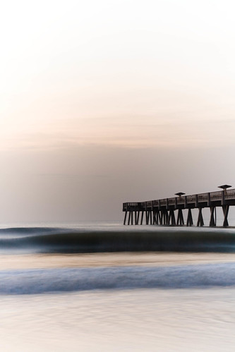 ocean morning pier waves florida peaceful explore jacksonville ambience jaxbeach explored silkywater