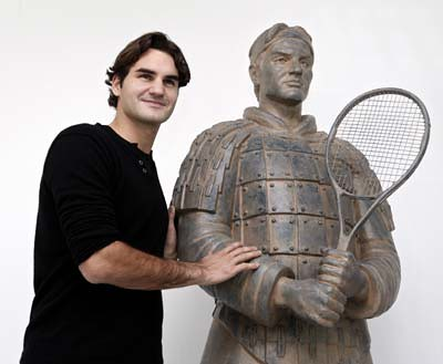Roger Federer With His Tennis 'Terracotta Warrior' Statue