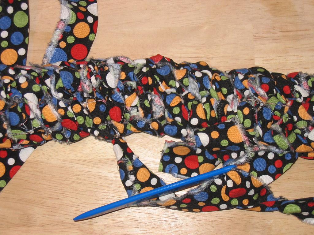 toothbrush rug in progress - #1