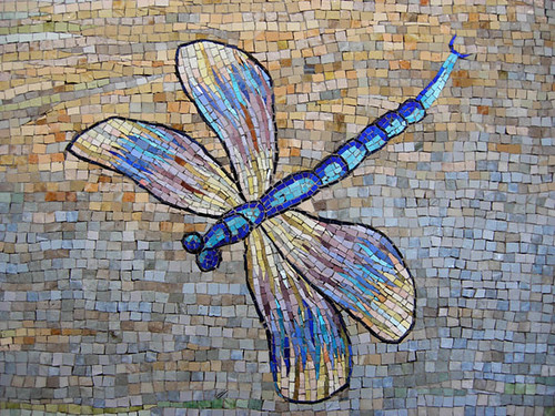 Mosaic airport mural houston bayou mosaic artist for Dragonfly mural