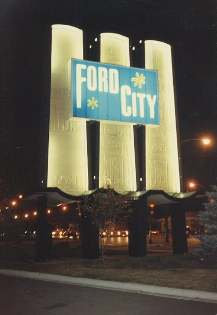 The original Ford City sign on South Pulaski Road. Chicago Illinois. October 1982.