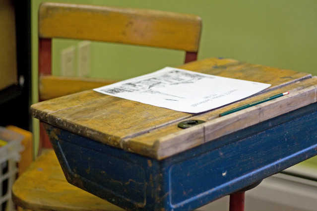 School desk at Southborough Historical Museum