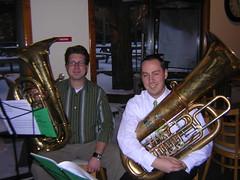 string instrument(0.0), trumpet(0.0), saxophone(0.0), jazz(0.0), horn(0.0), musician(1.0), tuba(1.0), musical instrument(1.0), music(1.0), brass instrument(1.0),