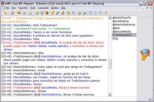 Todogames comando Alta Jugadores en el Chat IRC Hispano