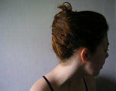 bun(0.0), face(1.0), hairstyle(1.0), chignon(1.0), head(1.0), hair(1.0), brown hair(1.0),