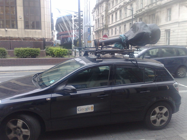 Google's Street View car in Cardiff