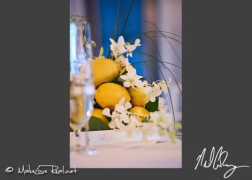 Lemon centerpieces - Palm Springs Wedding