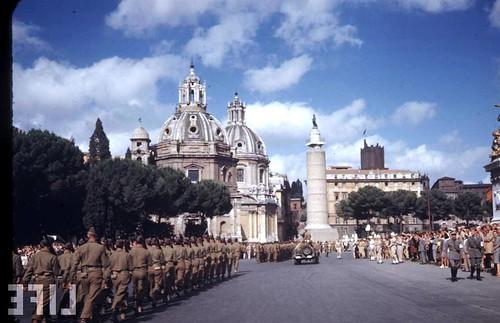 """Rome - Via Dell' Impero (1924-40): Rome Exhibit: """"L' invenzione dei Fori Imperiali - Demolizioni e scavi: 1924-40."""" the Pz. Venezia during Gen. Mark Clark's visit in Rome (04/07/1944). LIFE 1944."""