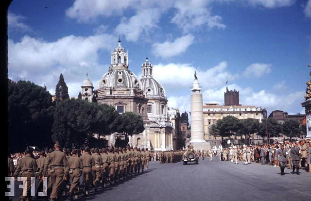 "Rome - Via Dell' Impero (1924-40): Rome Exhibit: ""L' invenzione dei Fori Imperiali - Demolizioni e scavi: 1924-40."" the Pz. Venezia during Gen. Mark Clark's visit in Rome (04/07/1944). LIFE 1944."
