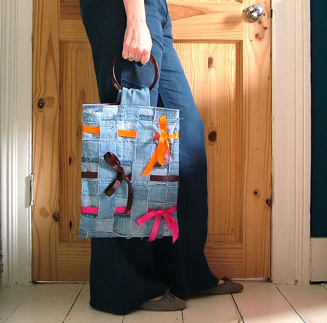 Woven recycled denim tote bag with ribbons