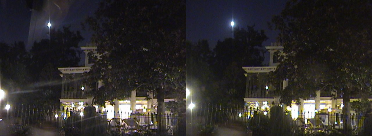 3D, Moon Over Haunted Mansion, New Orleans Square, Disneyland®, Anaheim, California, night, 2008.08.08 20:37