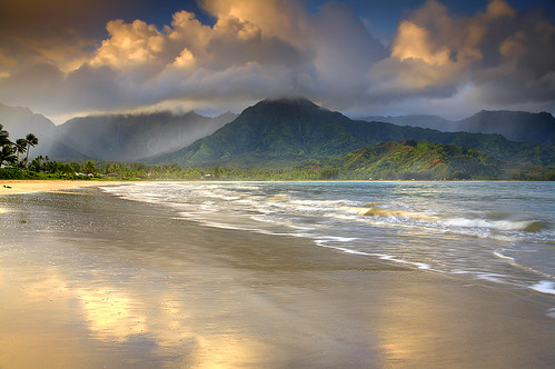 ocean travel sunset wallpaper vacation sky usa seascape beach nature clouds sunrise landscape hawaii waterfall paradise pacific palmtree kauai 5d bec hanalei princeville 1740l waialeale hanaleibeach hanalaikauai photocontesttnc10