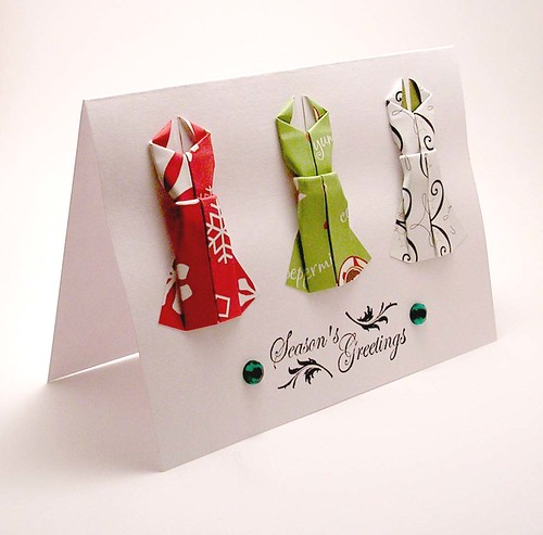 Paper Christmas Card 1 Photos | Mini Origami Dress Card | 476