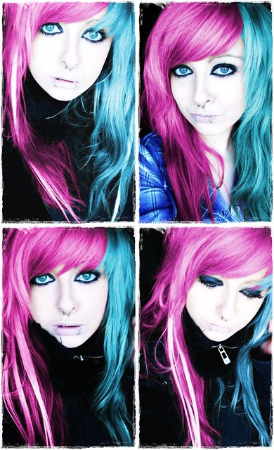 pink and blue emo scene hair style long for girls